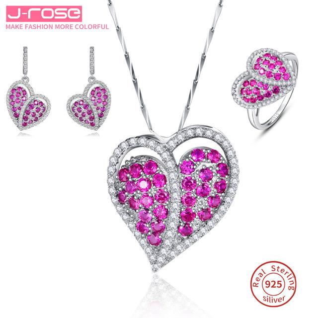 Jrose corazón diseño conjunto joyería de las mujeres anillo de compromiso de boda joyería 925 de plata esterlina rojo pendiente pendiente cuelga el regalo