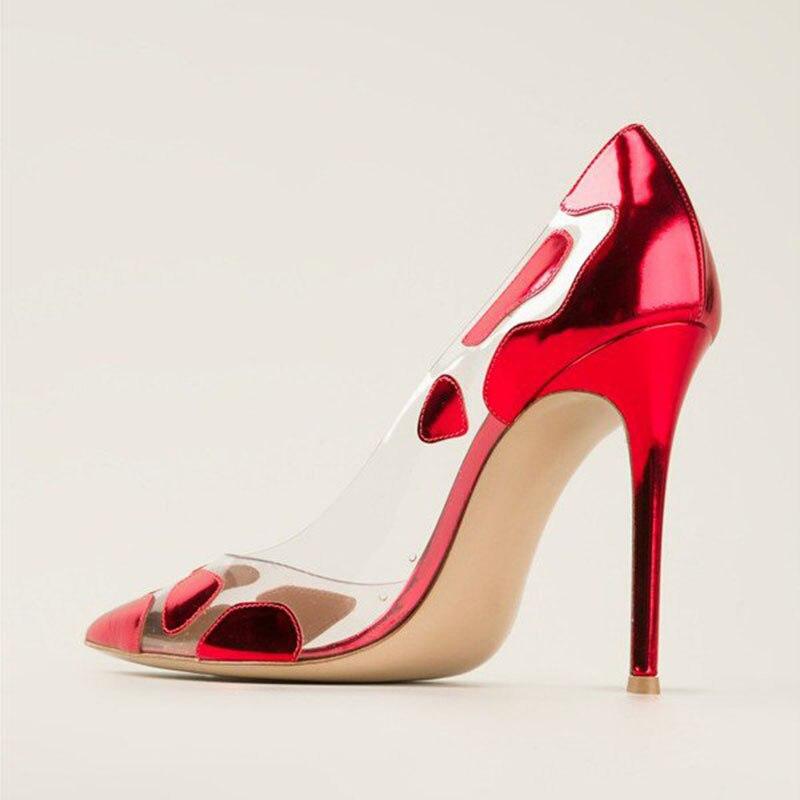 Damas Famoso Hecho Stiletto Claro Mano De Altos 12 Fsj Pvc A Transparente 11 Diseño Zapatos Bombas Noche Vestido Nuevo Verano Las Tacones Rojo Fsj01 Mujeres FwxFqpAzY