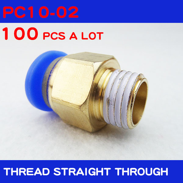 Free shipping HIGH QUALITY 100pcs BSPT PC10 02 10mm to 1 4 Pneumatic Connectors male straight