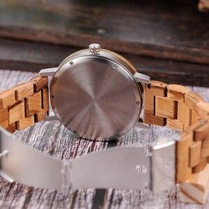 Image 3 - Bobo pássaro novo design relógios de madeira banda quartzo relógio de pulso para homem e mulher aceitar oem transporte da gota w * q07
