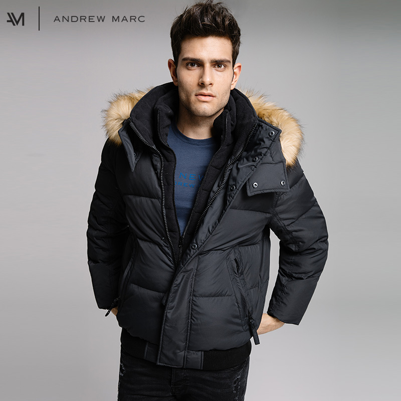 ANDREW MARC 2017 Man Thick Winter Down Jacket Coat Cold Warm Leisure Gentleman Male Down Coats TM7AD282