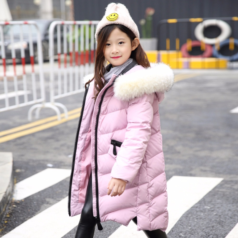 duck down girls winter jackets children winter thick arm coat kids fur hooded outerwear red green teenage little girls clothing цена и фото