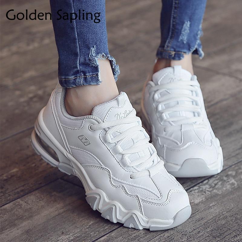 Golden Sapling Women's Sneakers White Running Shoes Women Air Cushioning Trail Run Women's Sport Shoes Tenni New Woman Sneakers цена
