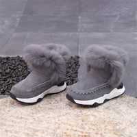 2018 Winter Children Snow Boots Real Leather Kids Rabbit Fur Warm Boots Fashion Boys Winter Boots for Girls High Top Plush Shoes