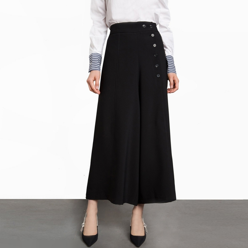 Fashion   Wide     Leg     Pants   Women High Waist Black Loose Palazzo   Pants   Elegant Office Ladies Trousers Plus Size