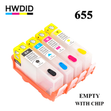 купить 4 Color refillable ink cartridge for HP 655 Compatible for HP deskjet 3525 4615 4625 5525 6525 CZ109AE CZ110AE CZ111AE CZ112AE  по цене 885.13 рублей