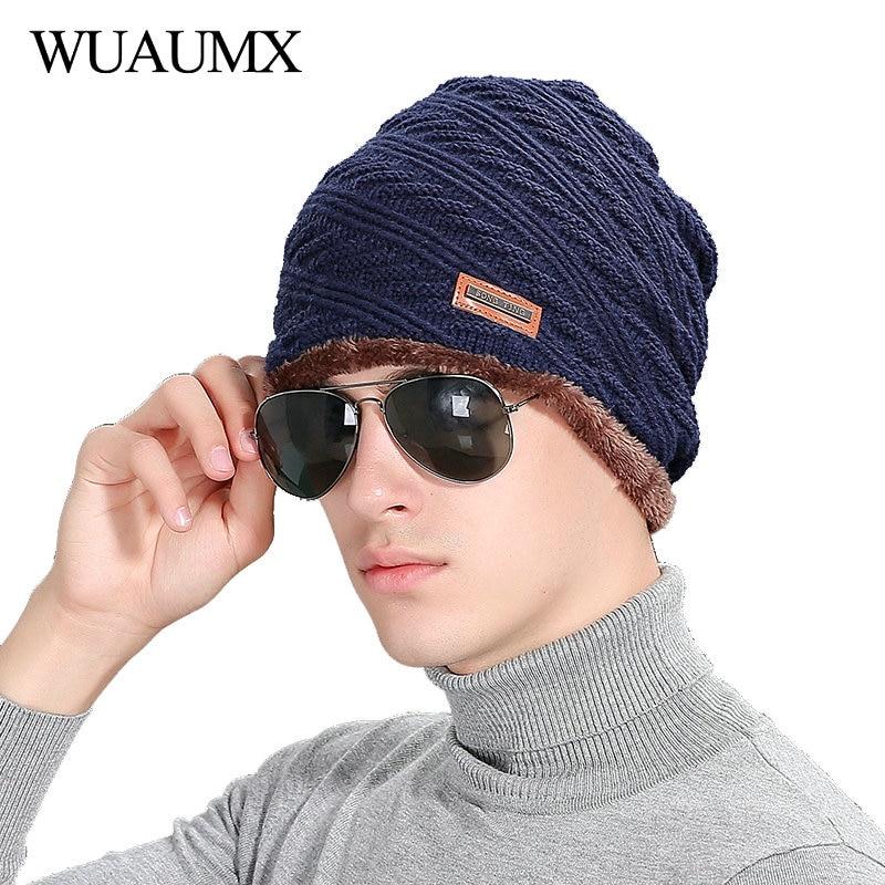 5731c9f20ba Casual Men s Beanies Hat With Velvet Warm Winter Hats For Men Solid ...