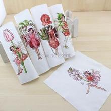 Mão tingido 5 assorted cotton linen impresso quilt tecido para diy costura patchwork home textile decor 16×16 cm flor de fadas