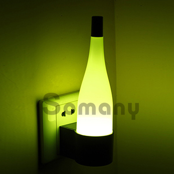 Creative Wine Bottle Led Small Night Light Pink/White/Green Bedside ...