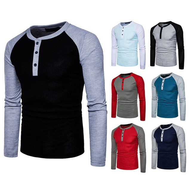 New Fashion Men's Round Collar Color Matching Long Sleeve Cotton