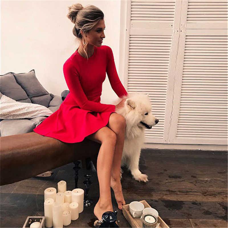 Borntogirl Mùa Xuân, Mùa Thu 2020 Mùa Đông Nữ Dài Tay Chữ A Slim Đen Đỏ Tổng Hợp-Vải Đầm Áo Dây Femme
