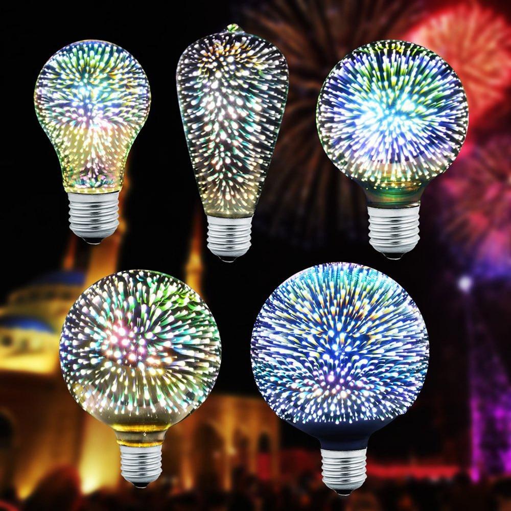 E27 4W 3D Firework LED Light bulb Home Decoration ST64 G95 G80 G125 A60 Vintage Edison Bulb Kid Bedding Room Lamp D01