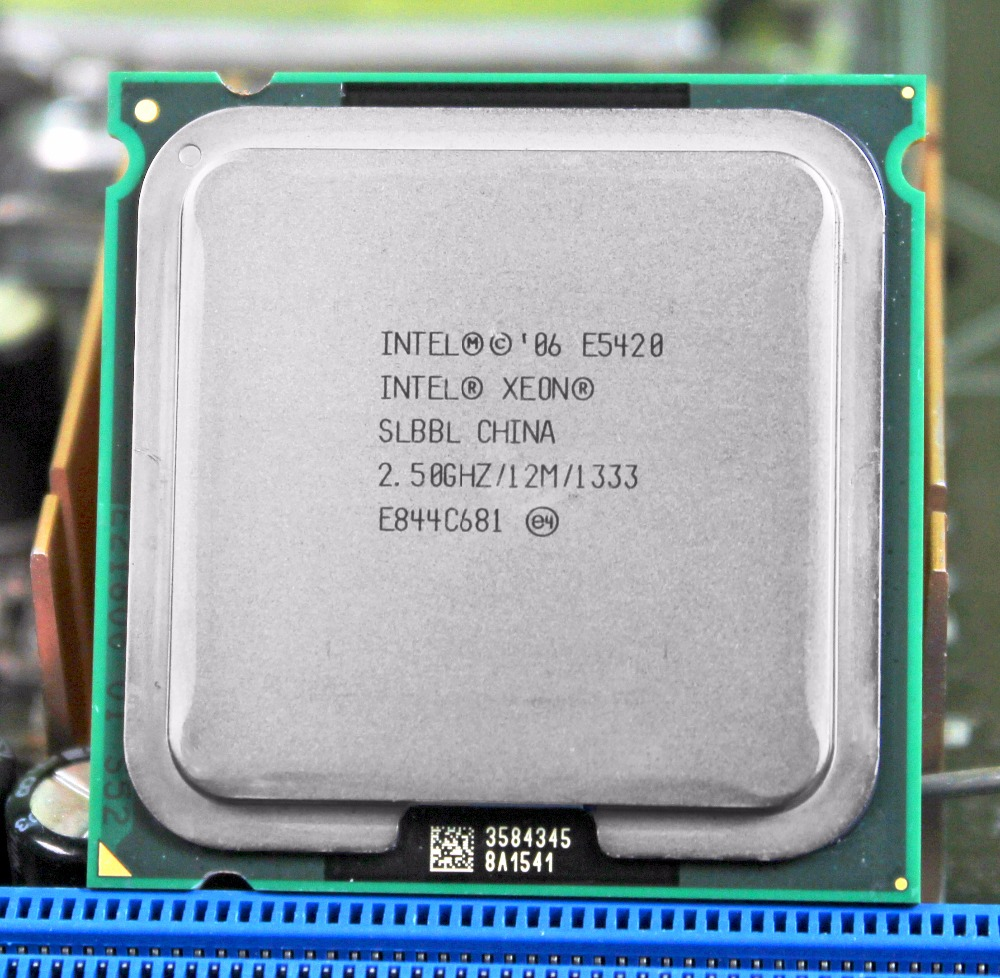 Intel <font><b>xeon</b></font> processor <font><b>E5420</b></font> LGA 775 scoket 771 to 775 2.5GHz/12M/1333Mhz/CPU equal works on 775 motherboard with adapter image