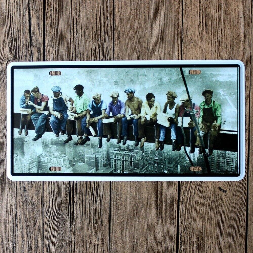 LOSICOE Vintage license plate construction worker Metal signs home decor Office Restaurant Bar Metal Painting art 15x30 CM