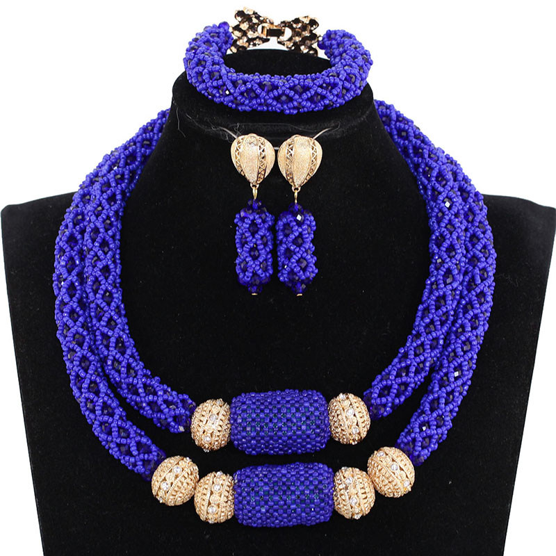African Bridal Statement Necklace Set Charms 2 Layers Royal Blue Wedding Nigerian Crystal Beads Jewelry Set Free Shipping ABH683African Bridal Statement Necklace Set Charms 2 Layers Royal Blue Wedding Nigerian Crystal Beads Jewelry Set Free Shipping ABH683