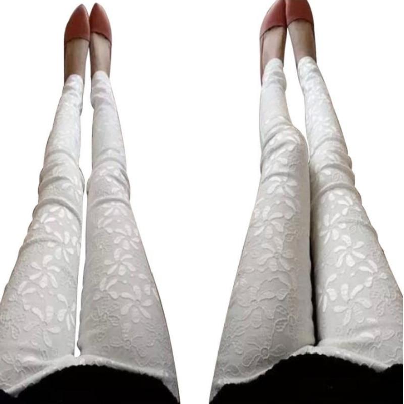 Plus Size 2018 Summer Casual Women's Leggins Solid Stretch Pencil Feet Lace Flower Print Legging Women Workout Leggings
