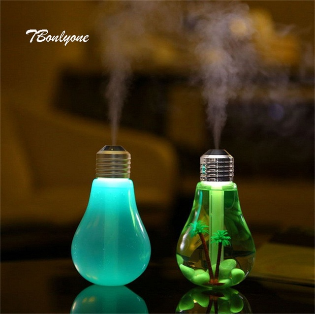TBonlyone 400ML Bulb Humidifier Water Soluble Oil Aroma Diffuser Filter Type Water Humidifier Ultrasonic Air Humidifier for Home