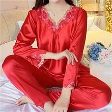 Herfst Vrouwen Dames Sexy Bloem Kant Satijn Zijden Pyjama Sets Lange Mouwen Tops + Broek Nachtkleding Mujer Nachtkleding Pyjama Femme