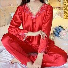 Mùa Thu Nữ Nữ Ren Hoa Gợi Cảm Lụa Satin Bộ Đồ Ngủ Bộ Dài Tay Áo + Quần Ngủ Mujer Đồ Ngủ Bộ Pyjama Femme