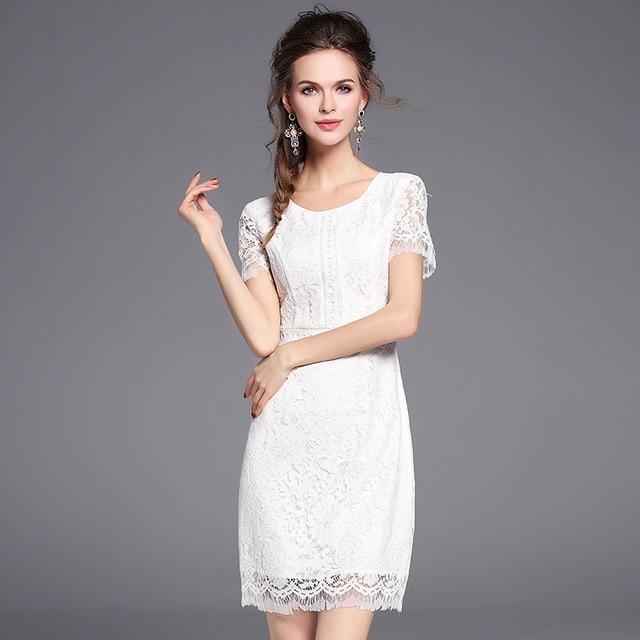 Женщины 2017 лето кружева bodycon dress половина рукава белый о-образным вырезом тонкий элегантный для дамы-в вечерние платья пляжа vestidos