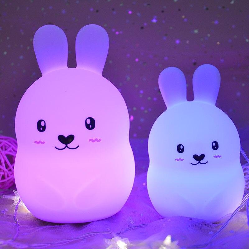 Luz LED nocturna con forma de conejo de dibujos animados, Sensor táctil, lámpara de mesa de conejo de silicona de 9 colores, lámpara de noche para dormitorio, regalo para niños y bebés