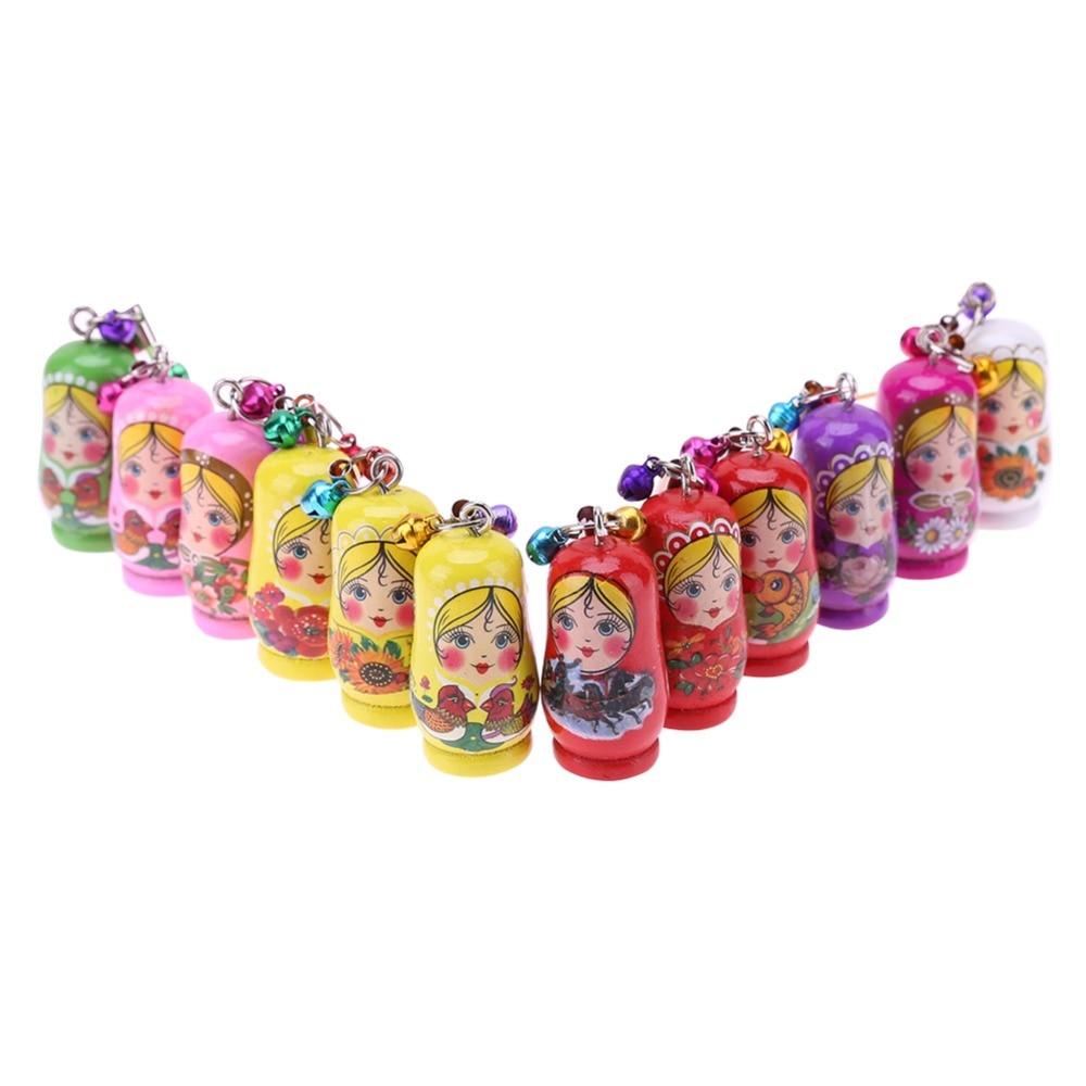 1PCS cartoon wooden Matryoshka Doll Russian doll phone chain key pendant accessories toys