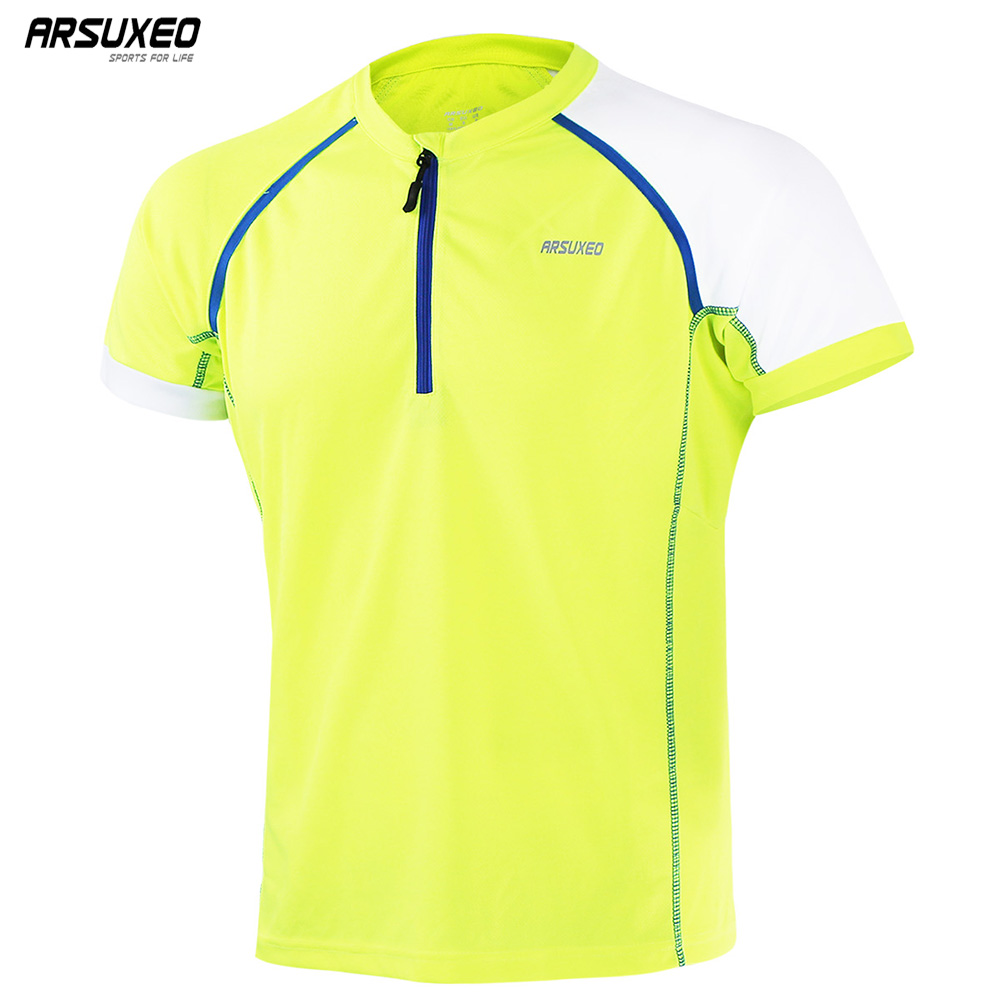 ARSUXEO Summer Men's Sports Running T Shirts Active Short Sleeves Quick Dry Training Jersey 1/3 zipper Clothing T1605