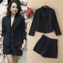 Business Suit Solid BLack Long Sleeve Double Brasted Blazer And Shorts 2 Pieces Suits Sets 2017 famous Brand Twill jackets xl