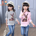 1 PC dos Desenhos Animados Manga longa T-shirt da Menina das Crianças Dos Desenhos Animados Cotton Tops aTST0263