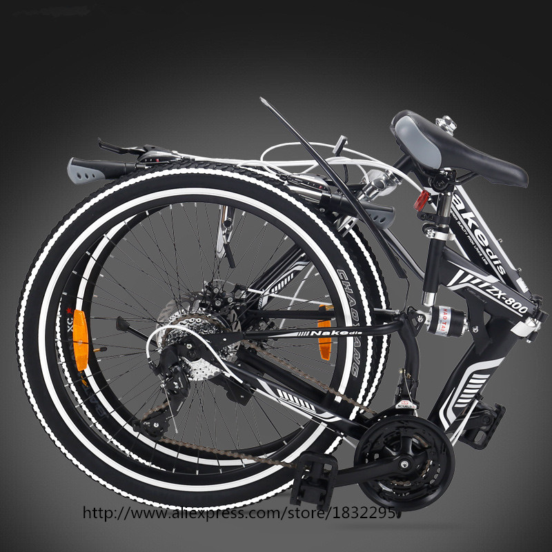 HOT Folding Bicycles 21 Speed 24inch Aluminum One Round Complete Mountain Bike for Mens Womens White KidsBicycle