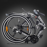 HOT Folding Bicycles 21 Speed 24inch Aluminum One Round Complete Mountain Bike For Mens Womens White