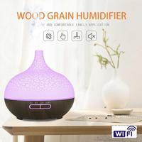 400ml Cracked Shell Timing WiFi Ultrasonic Aroma Diffuser Humidifier w/Lamp