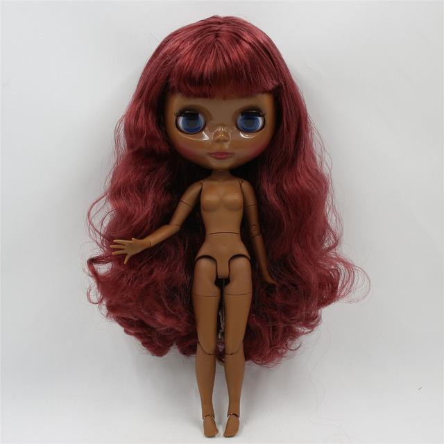 TBL Neo Blythe Dolls Qırmızı Şərab Saçları Daimi və Tərtib edilmiş Bədən