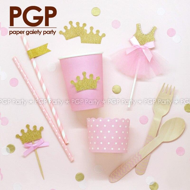[PGP] Princess Glitter Cake Topper Tag Straw <font><b>Cup</b></font> Spoon <font><b>Sweet</b></font> Sixteen, <font><b>Pink</b></font> Gold 16 Bridal kids girls Birthday Baby Shower Party