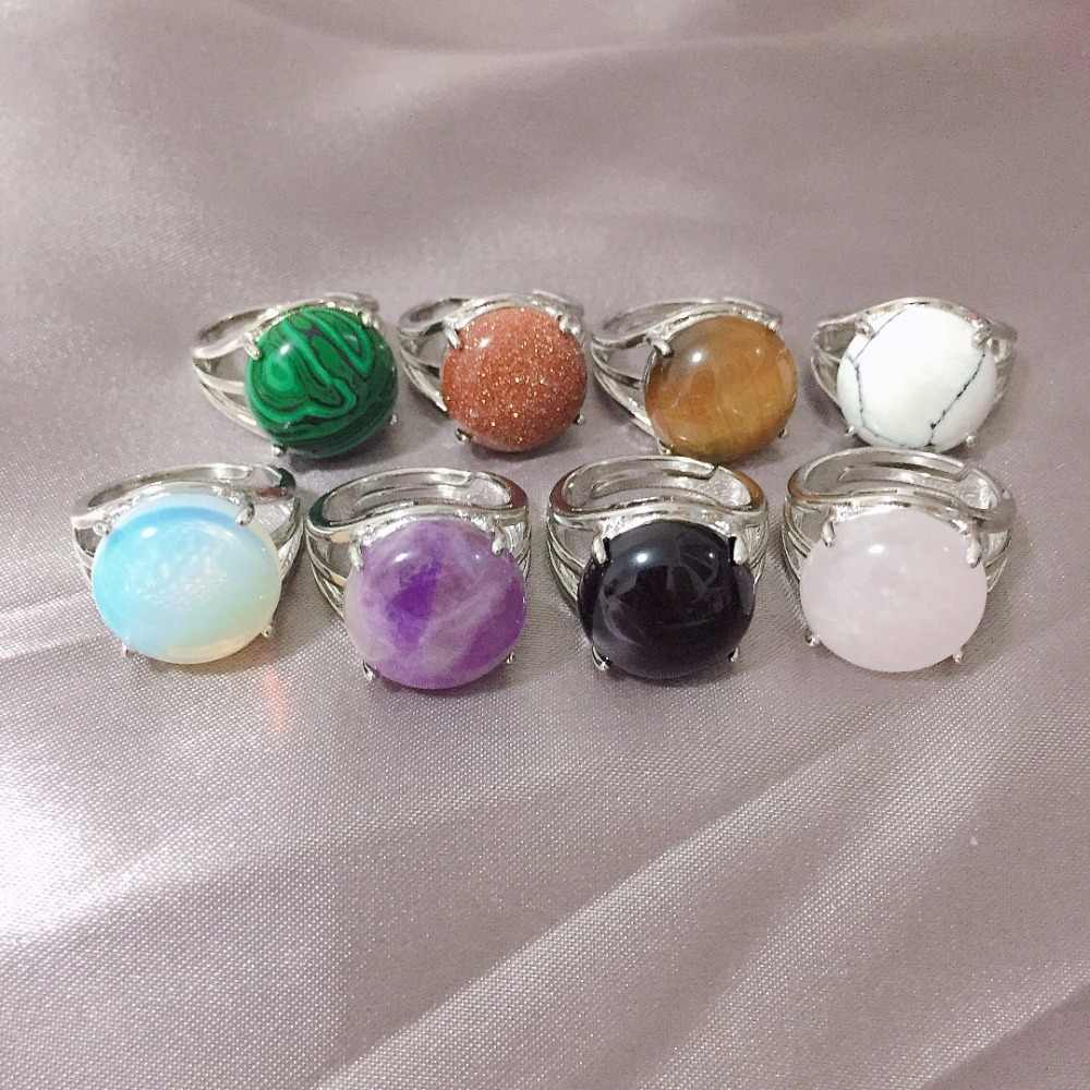 Anillo completo Simple de Color plateado para mujer, anillos de piedra Natural, anillos de dedo casuales, anillos de boda de ópalo, anillos de boda