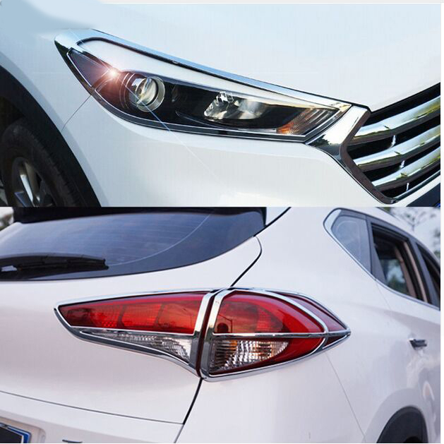 FIT FOR HYUNDAI TUCSON TL 2015-16 CHROME FRONT REAR HEADLIGHT TAIL LIGHT LAMP COVER TRIM STYLING DECORATION BEZEL MOLDING