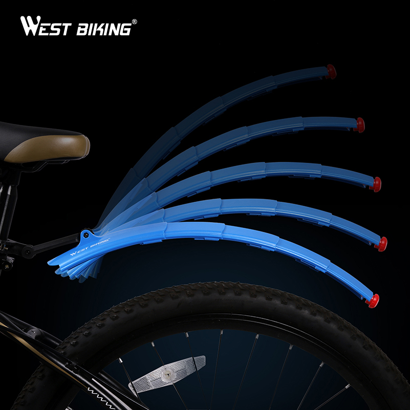 WEST BIKING Bike Light Front Rear Telescopic Folding Cycling Durable <font><b>Fenders</b></font> Set Taillight Bike Accessories with Bicycle Lights