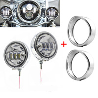 FADUIES 4 1/2 LED Auxiliary Chrome Lighting + 4.5Brackets with Trim Ring For Harley Street Glide Harley Touring Electra Glide