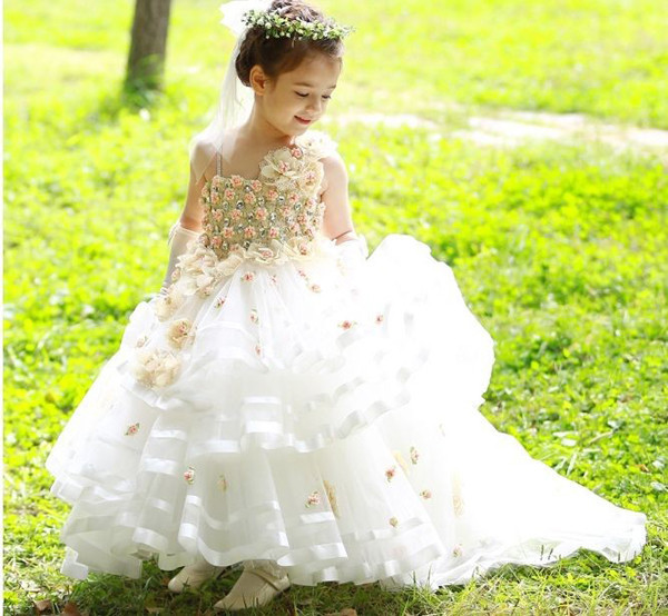 Shiny Girls Pageant Dresses High quality Beading Rosette Little Bridesmaid Wedding Dress Chapel Train Floral Party Ball Gowns in stock layered pre teen party gowns little girls pageant dress pink color