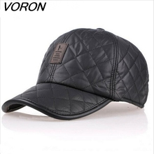 High quality 2016 baseball cap men autumn winter Fashion Caps waterproof fabric Hats Thick warm earmuffs 4 colors