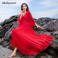 אדום שמלת חוף ביקיני לחפות על בגדי ים V העמוק סקסי שרוול ארוך קפטן טוניקות מפית רונד Toalla דה Plage