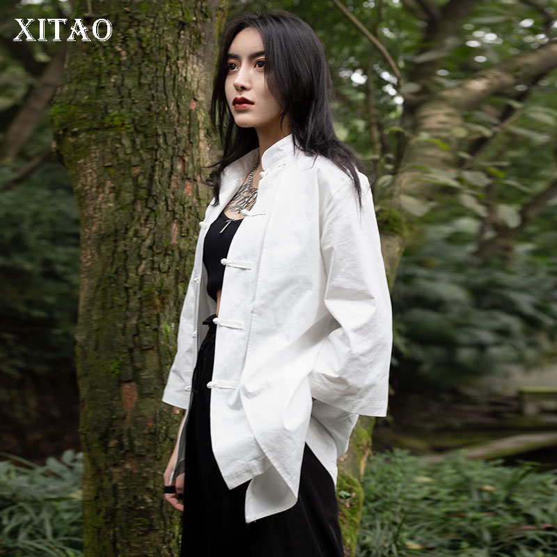 XITAO New Women Fashion 2019 Spring Stand Collar Three Quarter Sleeve Long Shirt Female Solid