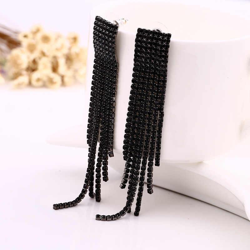 Noir pleine strass goutte boucle d'oreille qualité boucles d'oreilles pour les femmes bijoux de luxe longue boucle d'oreille # E019