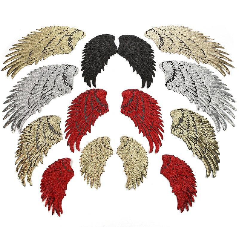 6 cores grande remendo de lantejoulas diy asas de anjo ferro em remendos para crianças roupas sew-on bordado remendo motivo apliques adesivos