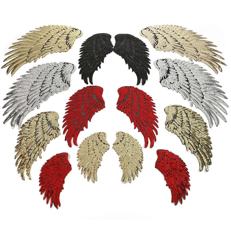 6 Color Large Sequin Patch DIY Angel Wings Iron On Patches For Kids Clothes Sew-On Embroidered Patch Motif Applique Stickers