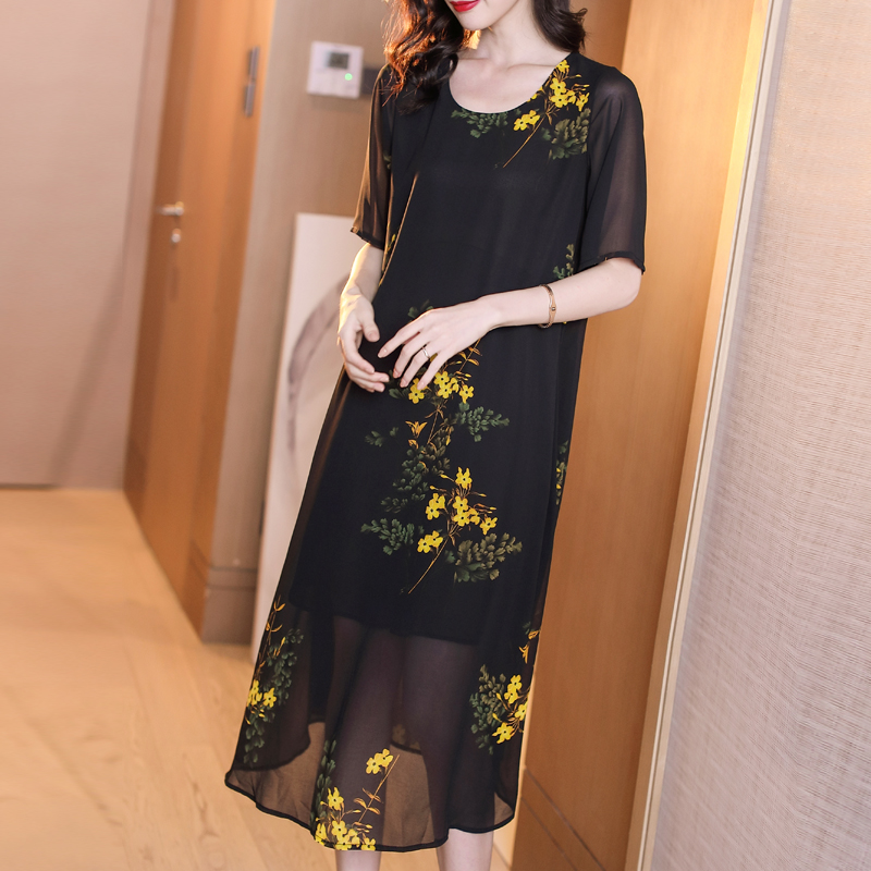 Black Fake Silk Chiffon Dress Women Plus Size Elegant Vintage Floral Print Midi Party Dresses Robe 2019 Summer Vestidos Clothing