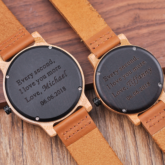 Engraved Watches For Men Women Lovers' Anniversary Engagement Gift Handmade Bamboo Personalized Watch relogio masculino A09A10 4