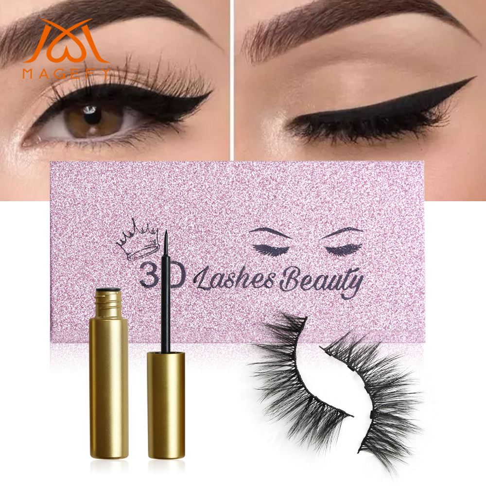 2019 Magnetic Eyelashes Eyeliner With 5 Magnets Natural False Eyelashes Handmade 3D Mink Lashes Extension Lash