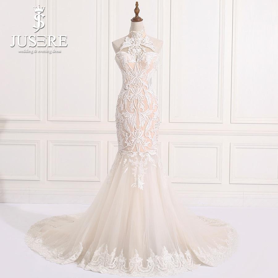 In Stock High Neckline Sexy Mermaid Sleeveless Pattern Lace Sequin Bead Open Back Robe De Mariee Noiva Wedding Dress 2018