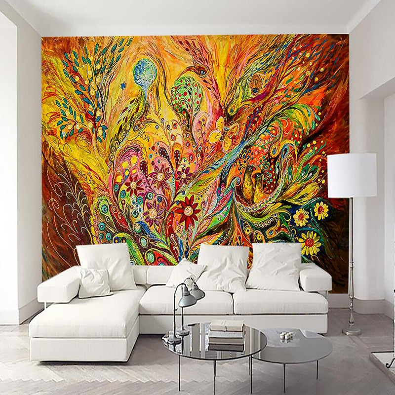 Custom Photo Wall Mural 3D Wallpaper Animals Peacock Oil Painting 3D Wall Murals Living Room TV Background Wall Mural Wallpapers custom 3d photo wallpaper mural nordic cartoon animals forests 3d background murals wall paper for chirdlen s room wall paper